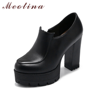 Meotina Shoes Women Platform Pumps High Heels Zipper Extreme High Heel Shoes Round Toe Autumn Pumps
