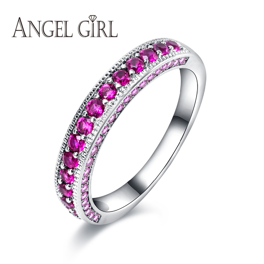 angel girl white gold color hot ring purple zirconia classic jewelry for women 2016 wedding engagement rings wholesale