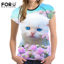 FORUDESIGNS 2017 Summer Women T-shirt Short Sleeved Woman Tops T Shirt Kawaii 3D Cat Female Shirts Female Tees Feminina Clothes