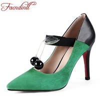 FACNDINLL Genuine Leather Shoes Women Pumps Fashion Beading Thin High Heels Pointed Toe Dress Party Shoes