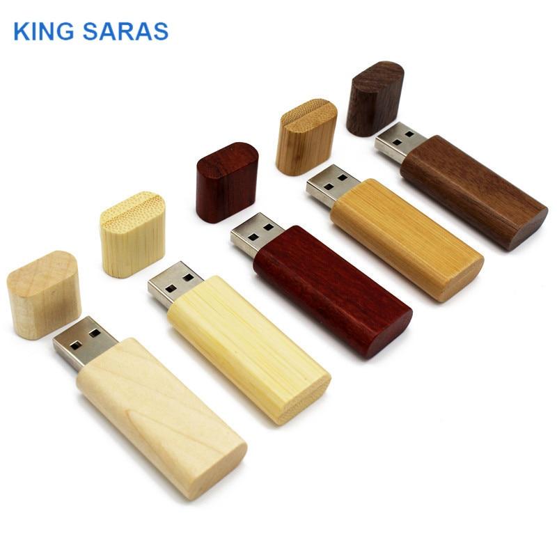 KING SARAS 5 Colors Custom Made  64GB Bamboo Walnut Wooden LOGO Usb Flash Drive  4GB 8GB 16GB 32GBusb 2.0 Photography Best Gift