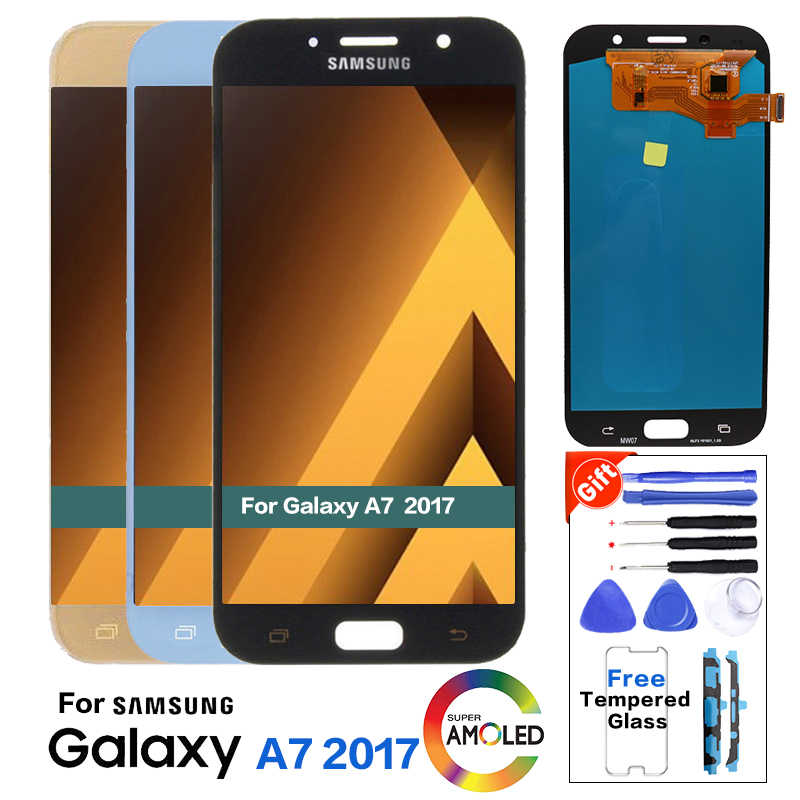 Super AMOLED A720F LCD Display Für Samsung Galaxy A7 2017 A720 A720F A720M LCDs Touch Screen Digitizer Montage + Glas protector