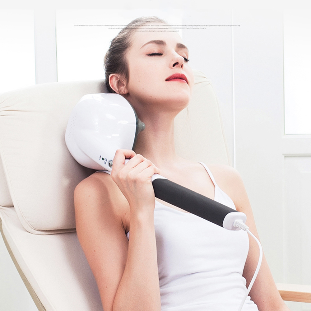 Electric Handheld Massager Four Head Machine Full Body Neck Vertebra Back Muscle Relax Vibrating Deep Tissue