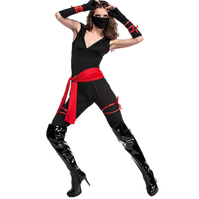 58f48a6ef61 US $22.99 |Black Martial Ninja Halloween Costumes For Women Two Piece Set  Clothing Punk Cosplay Suit Sporting Tracksuit Outfit 815-in Women's Sets ...