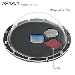Image 2 - SOONSUN Filtro Commutabile Cupola Porta Custodia Impermeabile Dive Lens Della Copertura w/Float Grip per GoPro hero 5 6 7 nero Go Pro 7 Accessorio