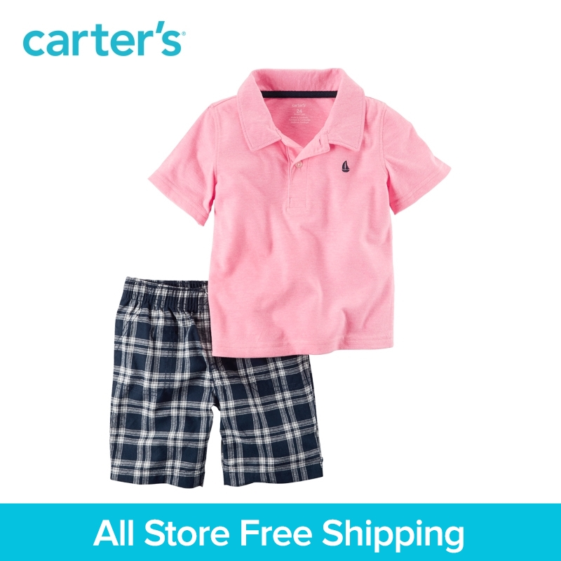 Carter's 2pcs baby children kids Pink Polo &Plaid Short Set 249G406,sold by Carter's China official store carter s 3pcs baby children kids 3 piece babysoft footed pant set 126g315 sold by carter s china official store