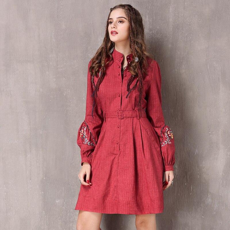 Vintage Spring Women s Dress 2018 New Cotton Linen Vestidos A line Lantern Sleeve Stand Collar