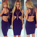 2016 new sexy women mesh see through summer hollow out black dresses cutout club evening party bandage dress dropshipping HL623
