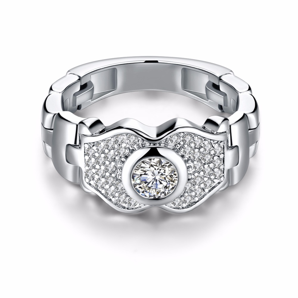 Wedding-Rings Women Jewelry Accessorise Gift Silver-Color Cubic-Zirconia Fashion