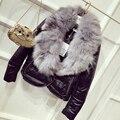 Abrigos oferta especial párrafo completo 2016 mujeres del invierno delgado de cuero de la pu chaqueta de la capa caliente de gran engrosamiento cuello de piel real clothing