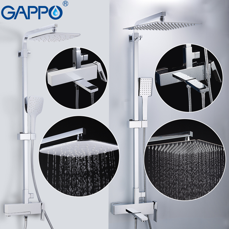 GAPPO Sanitary Ware Suite brass bathroom shower mixers wall mounted massage shower head chrome bath mixer bathroom shower set