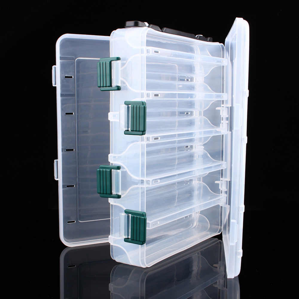 10 Compartments Transparent Plastic Fishing Lure Tackle Box Hook Fishing Accessories Storage Case Double Sided High Strength Box