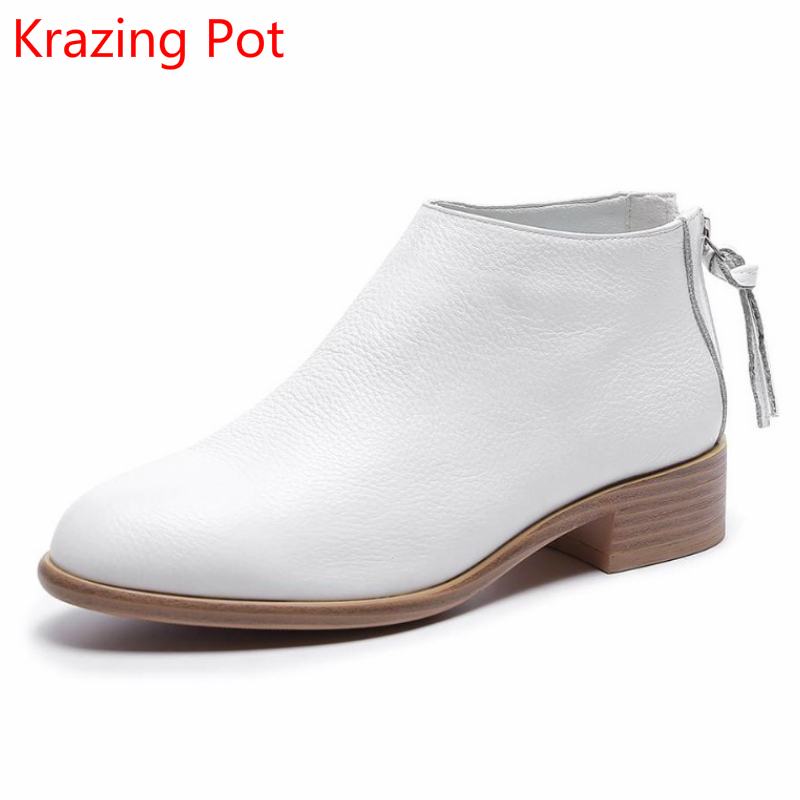 2018 Fashion Cow Leather Zipper Superstar Winter Boots Women Round Toe Low Heel Solid Concise Pregnant Chelsea Ankle Boots L08 fashion genuine leather chelsea boots handmade keep warm winter boots round toe thick heels concise ankle boots for women l08