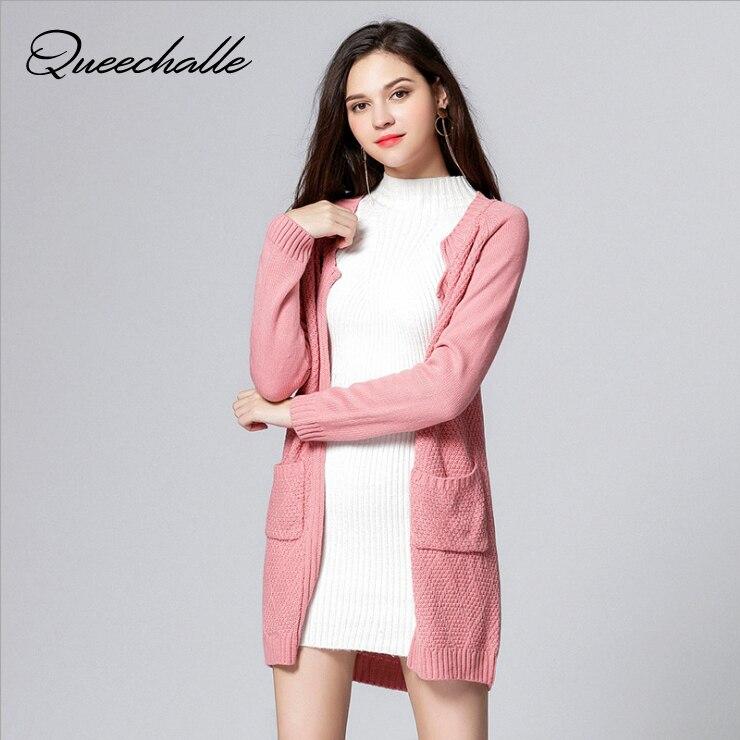 Rose Cardigans Femmes Grande Taille Chandail Manteau 2017 Automne Tricoté Chandails Surdimensionné Avec Poches 3XL 4XL 5XL Plus La Taille Des Vêtements
