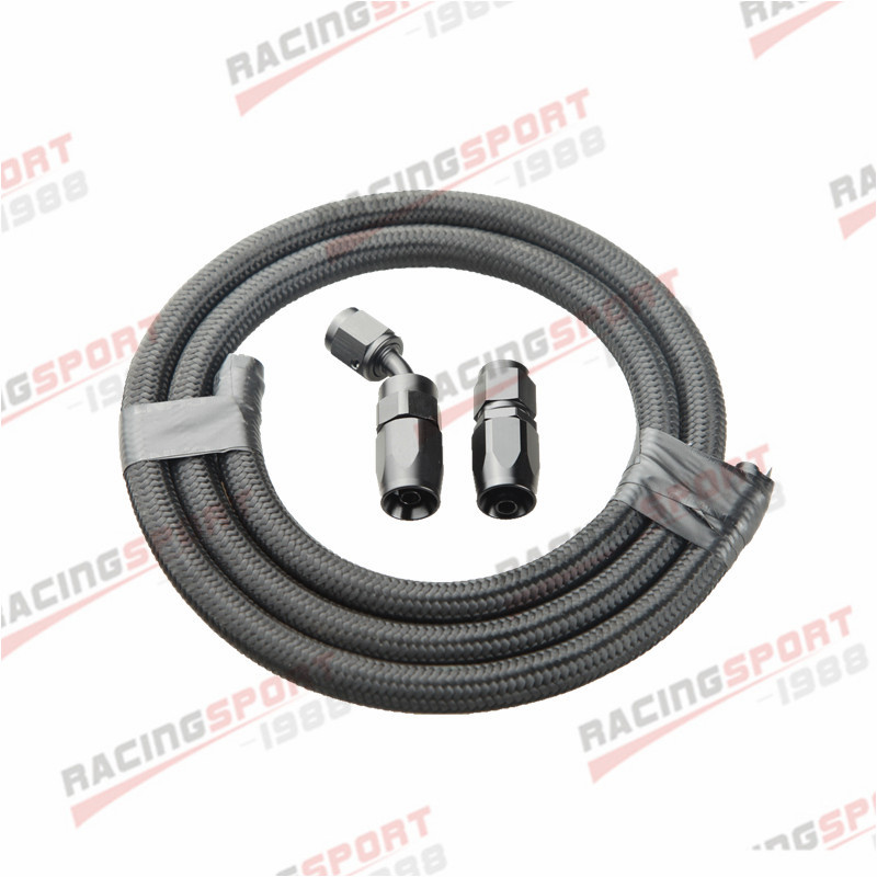 Nylon Cover Braided Hose End Fitting Black 10AN Oil//Gas//Fuel Hose Line 1M