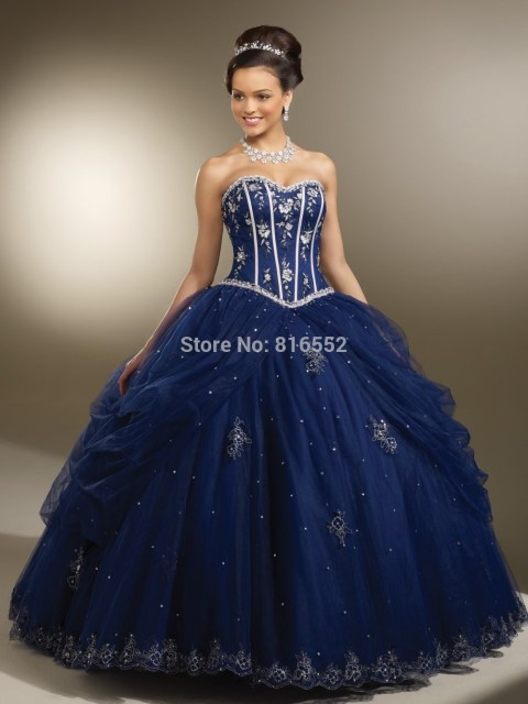 Aliexpress.com : Buy 2017 Hot Sale Elegant Navy Blue Quinceanera ...