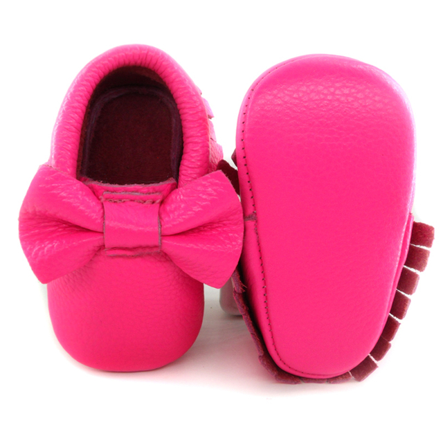 2016 New Fashion Pink Genuine Leather Newborn dress shoes Baby Moccasins Fringe Bow Soft Sole Infant Kids Toddler Girls Shoes