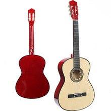 Дешевые 38 дюймов Классическая гитара древесины Начинающий Практика Музыкальный инструмент инструменты классическая гитара синтезатор WJ-JX5
