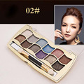 12 Color Professional Colorful Eyeshadow Shimmer Palette With Makeup Brush #2
