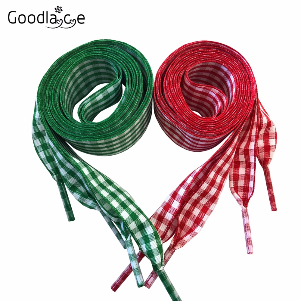 2.5cm/ 1 Inch Wide of Plaid Flat Ribbon Shoelaces Checkered  Shoe Laces British Style 120cm/47