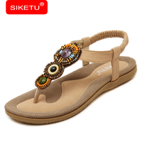 SIKETU Big Size 2017 National Style Women Sandals Bohemia Flats Beaded Size Foreign Trade Shoes Summer