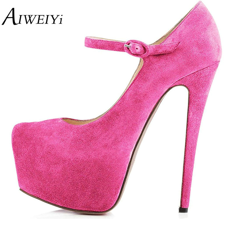 AIWEIYi Super High Heels Platform Pumps Ankle Buckle Strap 16CM Stiletto High Heels Ladies Wedding Party Dress Shoes For Women 2018 new big size 34 42 women cross tied pumps stiletto ankle buckle gladiator high heels blue red platform wedding bridal shoes