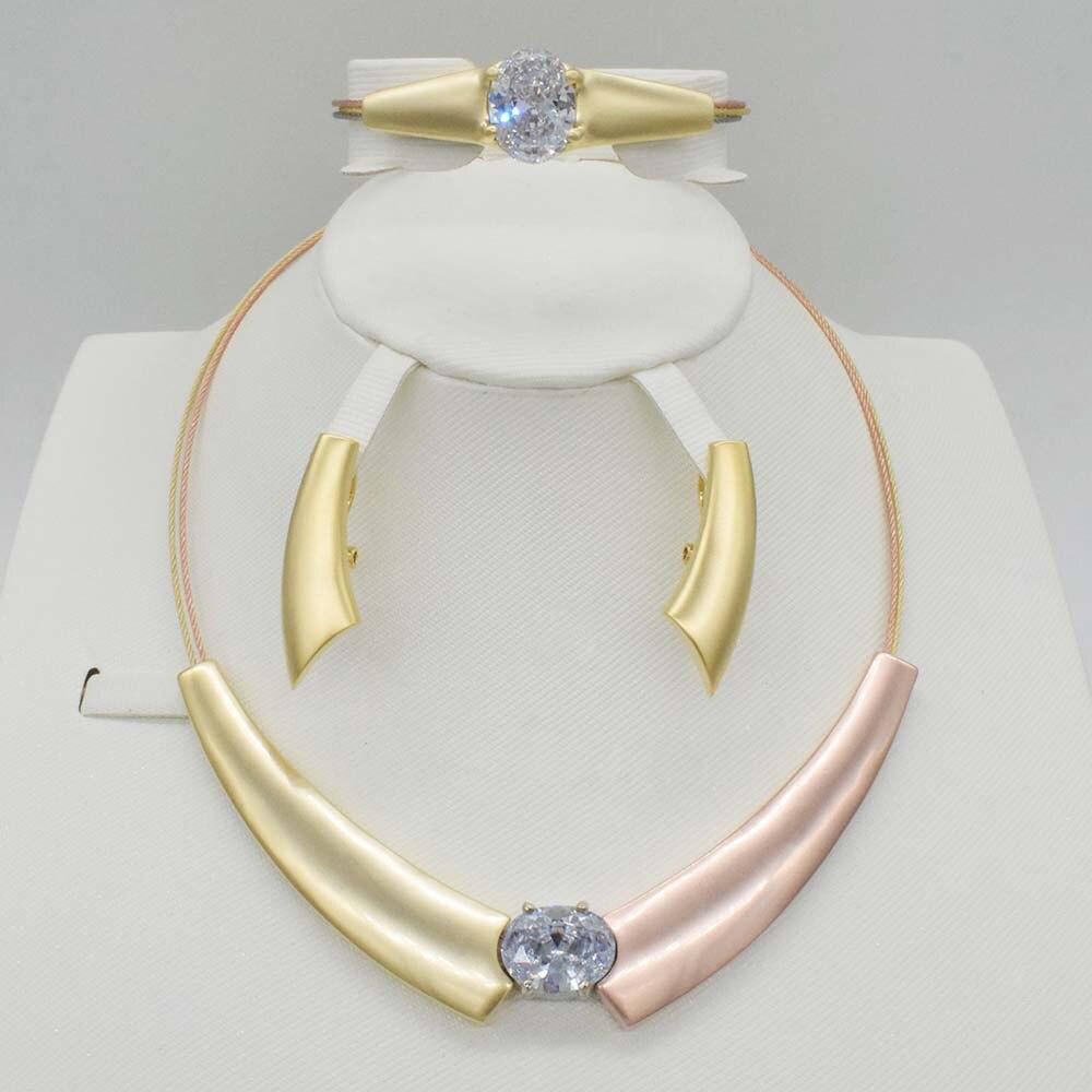 High quality Dubai gold jewelry set African bead jewelry Nigeria wedding jewelry set aretes de mujer modernos bracelets women