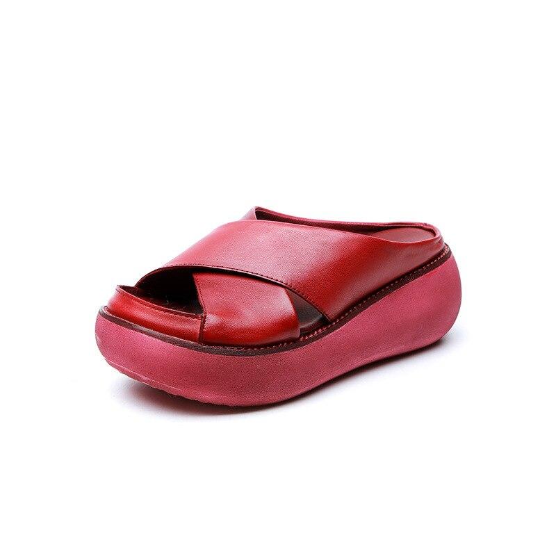 Rojo Hecho 2019 Mujeres Cuña De Zapatos Zapatillas Tacón Alto Genuino rojo A Las Cuero Retro Negro 5 amarillo Verano Mano Cm Estilo vvBaAqwxP