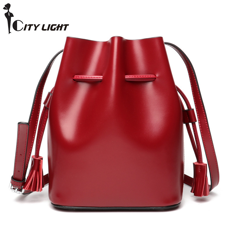 Women Bucket Bag Genuine Leather Vintage High Capacity Shoulder Bags Simple Brand Designer Ladies Crossbody Messenger Bags hollow out tassel design women bucket bags vintage shoulder bag crossbody high capacity women messenger bags ladies handbags