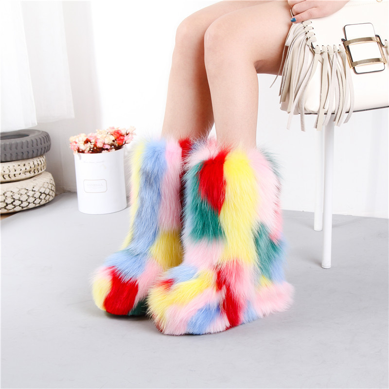 2018 European and American colorful fox fur height increasing snow boots genuine leather round toe 13 cm heel women's half boots genuine leather women s casual shoes cut outs women summer flats shoe new slip on female loafers mother platform woman footwear