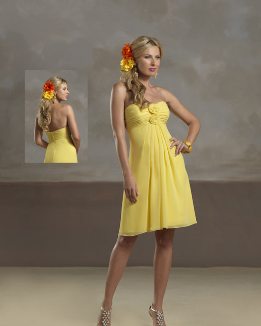 93e3075f398 Empire Waistline Casual Chiffon Short Yellow Bridesmaid Dresses Cheap FV171