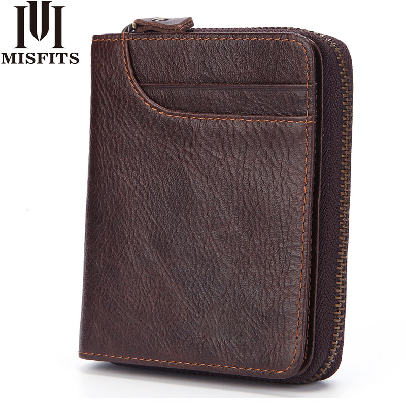 MISFITS Fashion Men Wallet Genuine Leather Coin Purse Card Holder Zipper&Hasp Short Wallet Male Brand Cowhide Standard Wallets