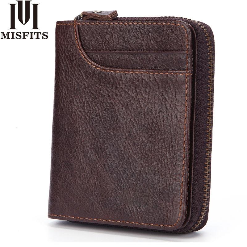MISFITS Fashion Men Wallet Genuine Leather Coin Purse Card Holder Zipper&Hasp Short Wallet Male Brand Cowhide Standard Wallets