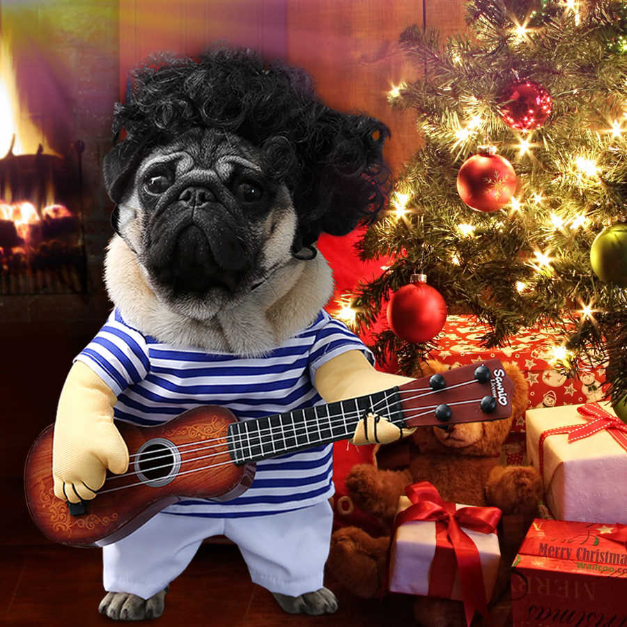 Funny Dog Costumes Guitar Player Pet Clothes Puppy Outfit