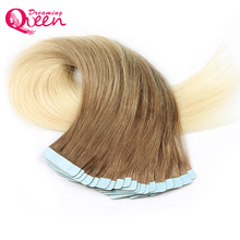 Dreaming Queen Hair Tape In Remy Hair 100% Human Brazilian Straight Hair Extensions 50g 20pcs/Set #8/613 Color Skin Weft Hair