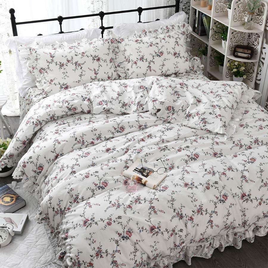 Ensemble de literie pastorale floral fille, coton double reine roi, simple double fleur textile maison taie d'oreiller housse de couette lit robe