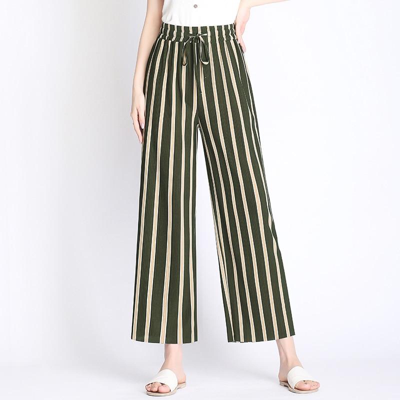 2018 Fashion Summer   Wide     Leg     Pants   Women High Waist Striped Loose Palazzo   Pants   Elegant Office Ladies Trousers