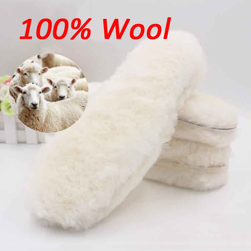 Natural Sheepskin Insoles Winter Real Fur Wool Insoles Men Women Warm Soft Thick Warm Cashmere Snow Boots