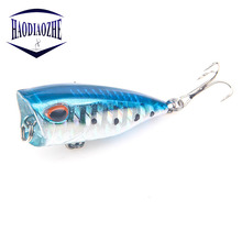 Купить с кэшбэком Popper Fishing Lure 4cm 3g Isca Artificial Fishing Bait Crankbait Wobblers With hooks Poper Pesca Carp Pike Hard Fishing Lures