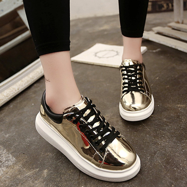 2016 Platform Shoes Superstar Yeezy Women Girl Female Shoes with Sequin  Lace-up Cause Shoes Top PU Leather Flat Shoes(PDX006-37) 16f824695394