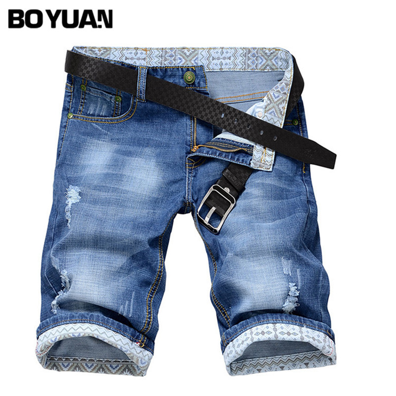 BOYUAN Shorts Denim Men Jeans Ripped Short Jean Blue Knee Length Casual Fashion Hole Jeans Wash