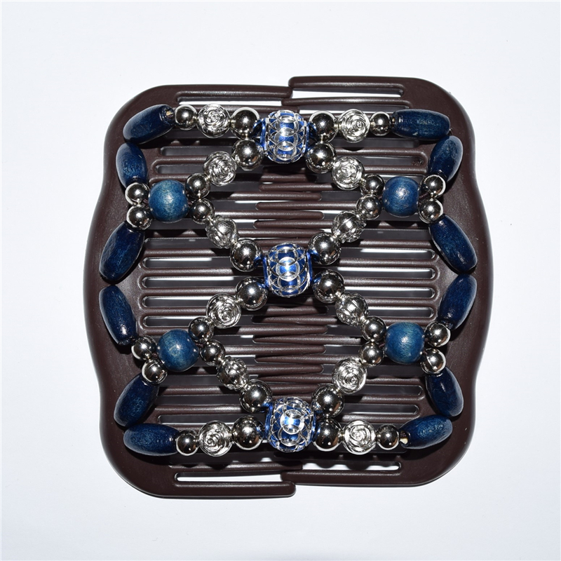standard comb dark blue and silver flower beads 40pcs/lot african butterfly magic comb ...