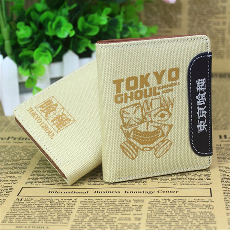 Anime New Tokyo Ghoul Canvas Wallet Fashion Design Brand Fairy Tail One Piece Totoro Card Holder Carteira Masculina Short Purse zshop anime tokyo ghoul wallet