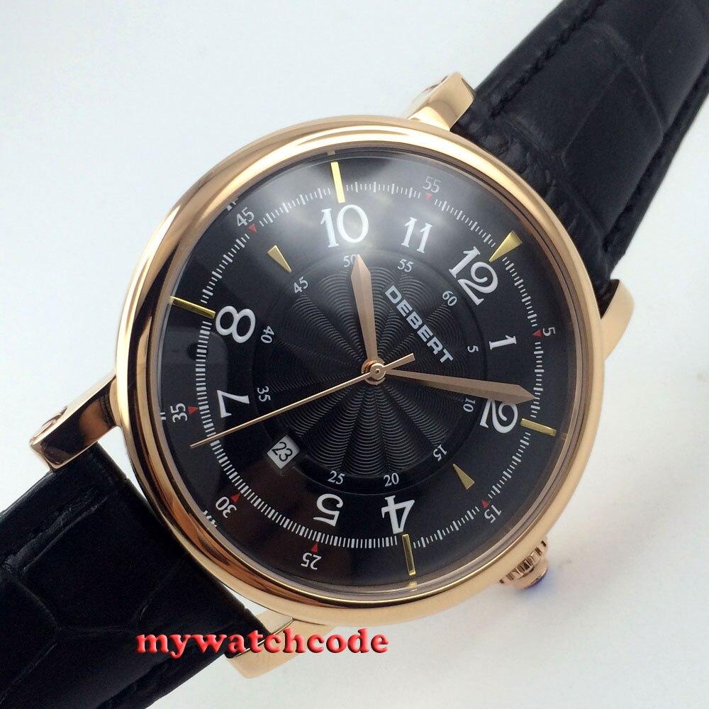 43mm debert black dial rose gold case 21 jewels miyota Automatic women Watch D6 цена и фото