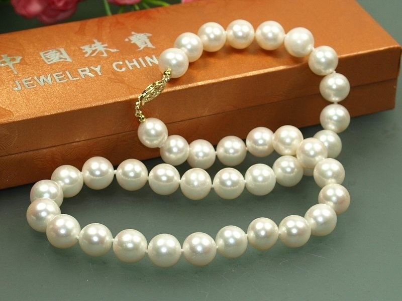где купить 18'' 10-11mm AAA++ Australian Akoya south seas white pearl necklace 14KGP по лучшей цене