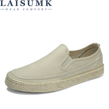 LAISUMK Canvas Shoes Men Breathable Casual Loafers Soft Comfortable Outdoor Flat for Male Chaussure Homme