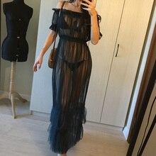 Longue robe Maxi en maille transparente, 6 couleurs, épaules dénudées, vêtement dété transparent, à franges, vêtement de soirée Sexy, boîte de nuit, W77, 2018