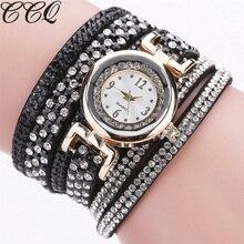 Sizzling Promoting CCQ Model Trend Ladies Bracelet Watch Informal Leather-based Wrist Watch Clock Quartz Watch Relogio Feminino 2143