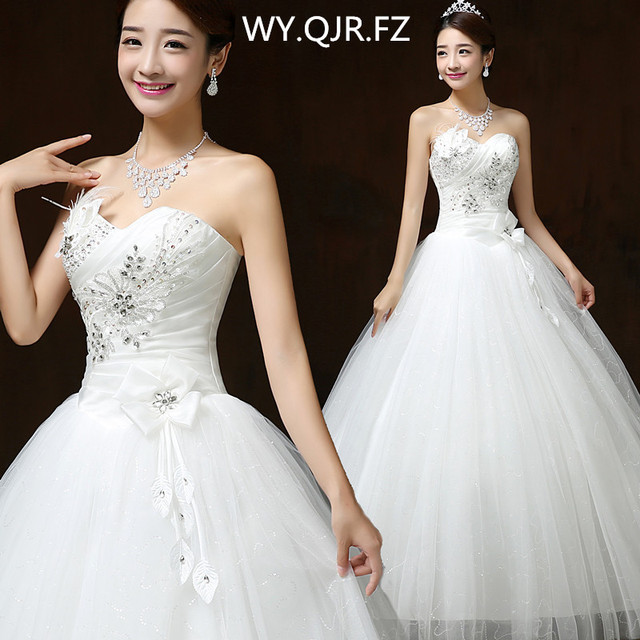 LYG-H57#Ball Gown Resin Crystal Sequins Flower Lace up wedding dress 2019 summer new Dresses cheap wholesale and custonm China
