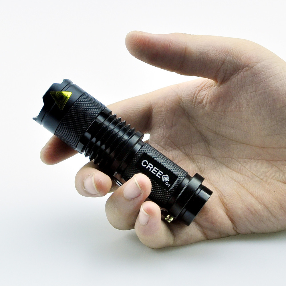 Free shipping high-quality Portable Light Mini Black CREE 2000LM Waterproof LED Flashlight 3 Modes Zoomable LED Torch penlight